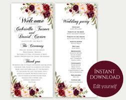 wedding phlet template wedding program template etsy