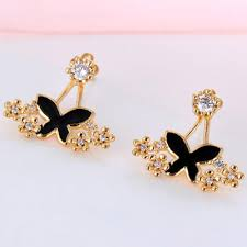 simple earrings design bardian gold color butterfly flower decorated simple design anti