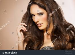 portrait beautiful woman long brunette fashion stock photo