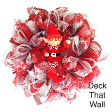 red and white christmas mesh with elf wreath u2013 deck that wall