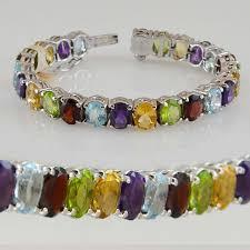 stone silver bracelet images Multi stone natural stone bracelet sterling silver oval kashmir jpg