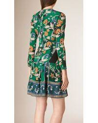 burberry floral print silk dress in blue lyst