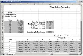 Excel Spreadsheet Template Analyzing Dissolution Test Data With A Sigmaplot Excel Spreadsheet