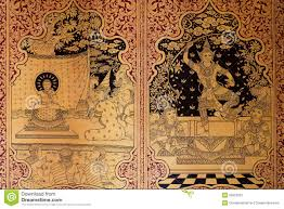 beautiful pattern ancient thai pattern on wall in thailand buddha temple asian