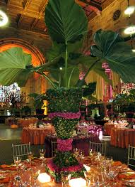 tall centerpiece for tropical paradise reception prestonbailey com