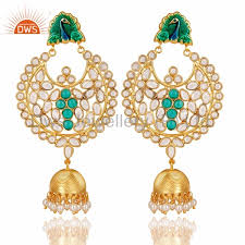 jhumkas earrings peacock designer cz and pearl gemstone earrings gold plated 925