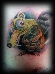 scrat with grenade tattoo tattoomagz