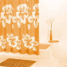 Orange Shower Curtains Luxury Polyester Floral Bathroom Orange Shower Curtain