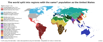 United States Map By Population by World Regions With The Same Population As The United States