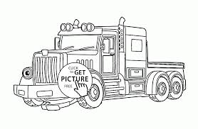 cartoon semi truck coloring page for kids transportation coloring
