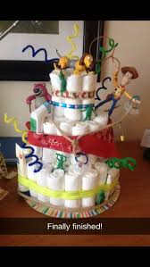 Diaper Cake Decorations For Baby Shower Toy Story Diaper Cake I Made For Kate U0026 Andy U0027s Baby Shower Theme