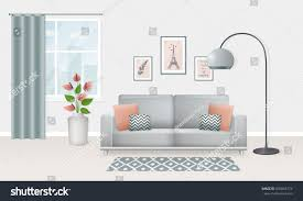 scandinavian style living room interior living room scandinavian style design stock vector