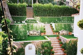Tiered Backyard Landscaping Ideas Brick Works Wonders On A Stylish Hollywood Hills Patio Doors