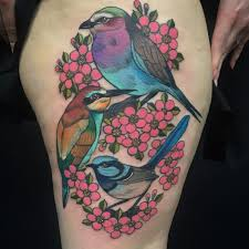 kingfisher birds and cherry blossom tattoos on thigh sheideas