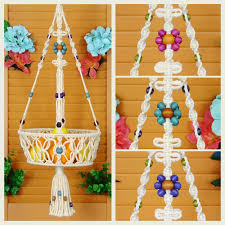 macrame two tier basket double hanging fruit bowl container
