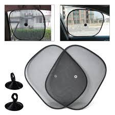 2pcs black foldable car side window sun shade screen mesh pattern