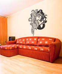 asian decor vinyl wall decal sticker chinese dragon and bird 1058