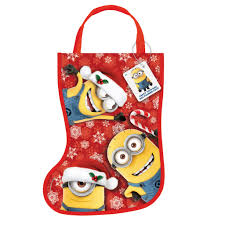 plastic despicable me minions christmas stocking goodie bag kids