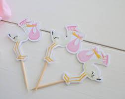 stork cake topper stork cupcake topper etsy