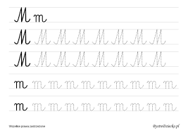 m u2013 large cursive letters for learn to write bystre dziecko