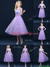 cap sleeves lavender bridesmaid dress with lace and appliques
