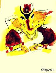 watercolor painting of shri ganesh ji desipainters com
