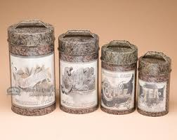4 pc country tin kitchen canister set general store