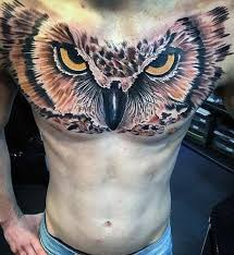 amazing mens 3d owl chest tattoos tattoos and