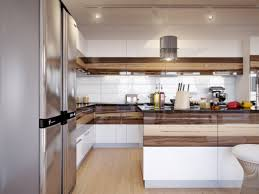 apartment walnut kitchen cabinet with glossy refrigerator in