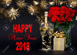 new years card greetings happy new year 2018 greetings card concept roses bottle