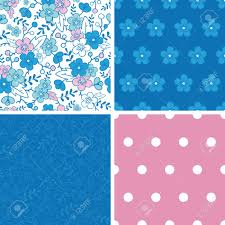 kimono repeat pattern vector blue and pink kimono blossoms set of four marching repeat