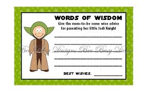 advice cards for printable wars yoda words of wisdom baby shower advice cards