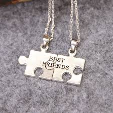 best friends puzzle necklace images 2pc 1set new best friends forever bff puzzle pendant necklace half jpg