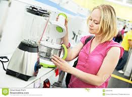 shopping home woman shopping at home appliance supermarket stock photo image of