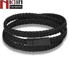 leather bracelet fashion images Hot fashion men leather bracelet wrap weave bracelets for men jpg