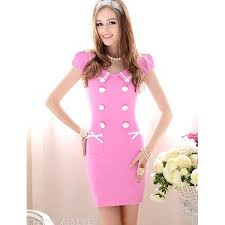 pink summer women thin slim double breasted dress