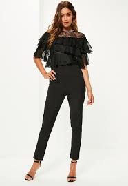 black jumpsuit sleeve black lace frill sleeve jumpsuit missguided