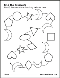 free crescent shape activity worksheets for preschool children
