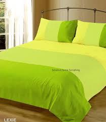 double bed duvet quilt cover bedding set lexie lime green plain