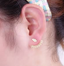 feather stud earrings new side earrings fashion exquisite gold color leaf