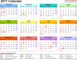 template 8 2017 calendar for pdf year at a glance 1 page