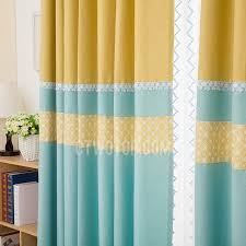 Yellow Patterned Curtains And Yellow Patterned Print Linencotton Blend Color Block Blue