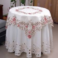 round table cloth covers elegant polyester satin jacquard embroidery floral tablecloths