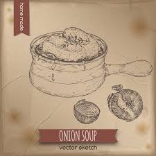 vintage onion soup vector sketch placed on old paper background