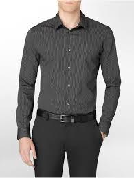 calvin klein white label body slim fit non iron banker stripe