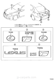 lexus parts name emblem u0026 name plate exterior u0026 interior lexus part list jp