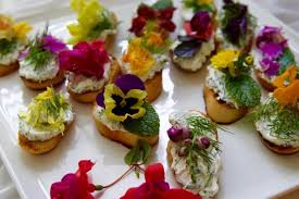 cuisine appetizer crostini edible flowers garden herbs delicious table