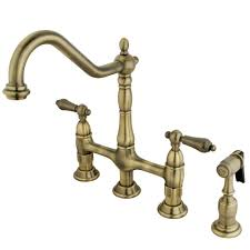 vintage kitchen faucets kingston brass ks1273albs heritage kitchen faucet with brass sprayer