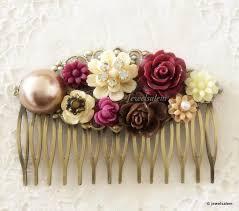 wedding hair combs maroon ivory wedding hair comb burgundy wine flower