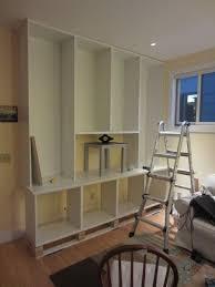 Ceiling To Floor Bookshelves Ikea Hack 2 Besta Built In Family Room Tv Bookshelf U2013 Shirley